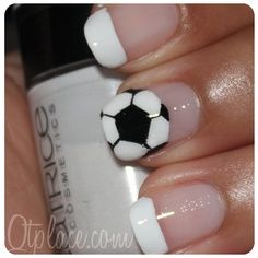 cute for summertime too. soccer white french nail tips.