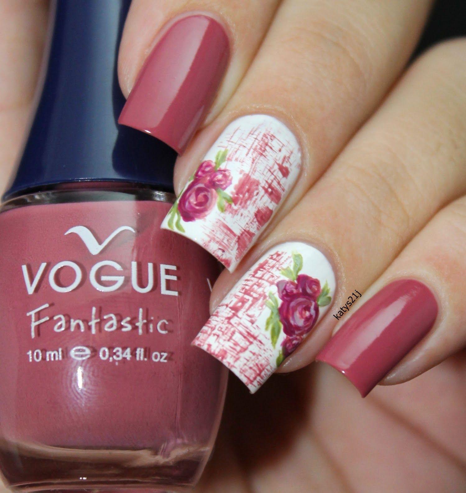 My Nail Art Journal: Vintage Roses Nails / \