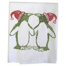 """Hand-printed dishtowel with a penguins motif on a cotton flower sack.  Product: Set of 2 dishtowelsConstruction Material: CottonColor: Red, green and whiteFeatures: Hand-printed in the USADimensions: 30"""" x 30"""" each"""