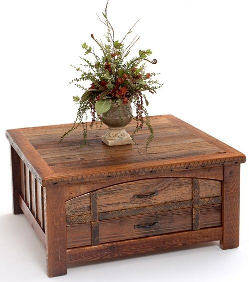 Barnwood Coffee Table Heritage Collection Two Drawers
