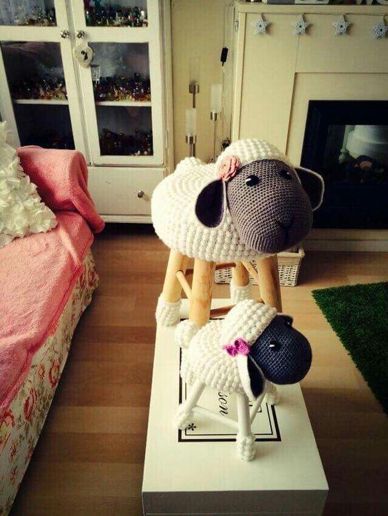 Chair Sheep Banquinho De Croche Bichinhos De Croche Ovelhas