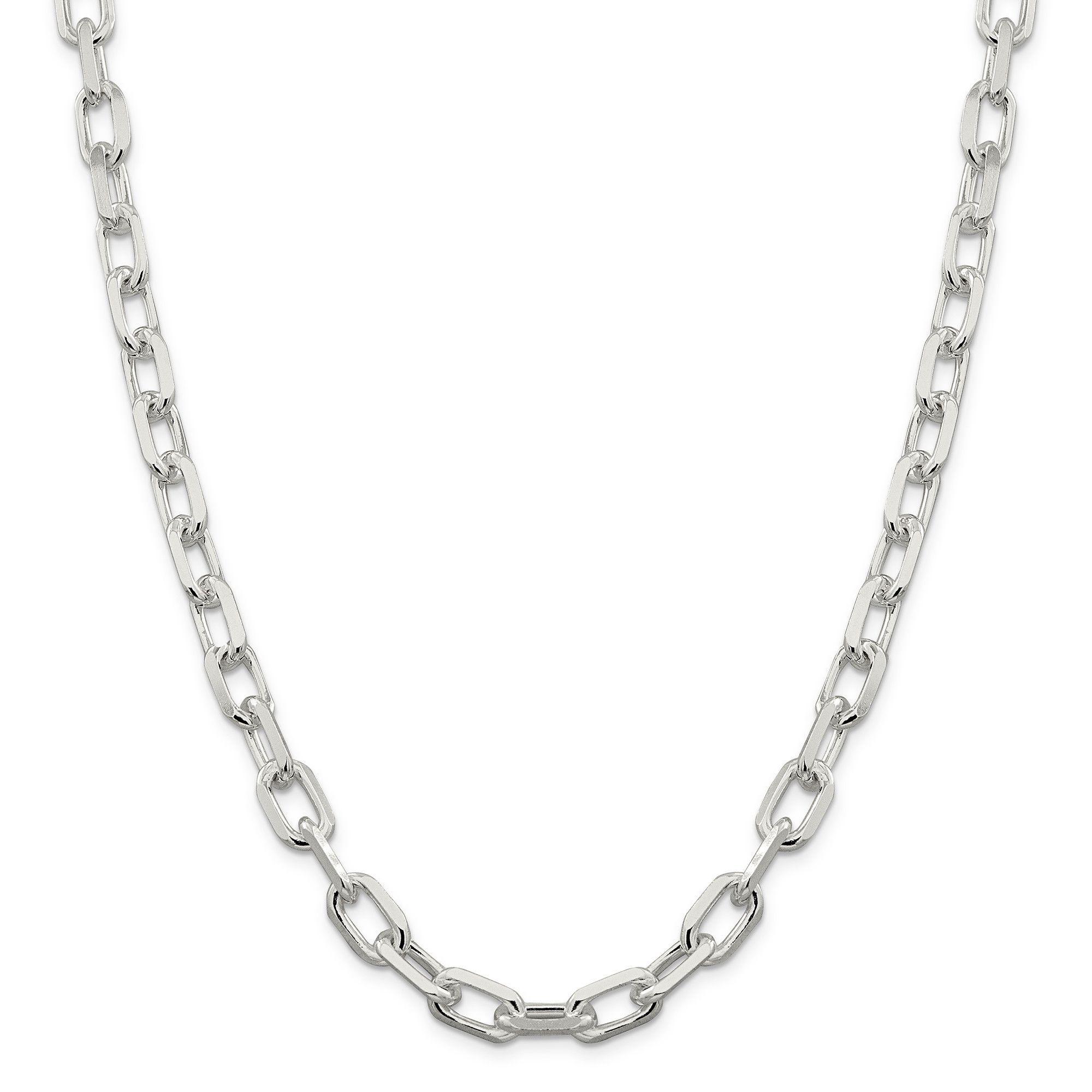 Sterling Silver 9mm Fancy Diamond-cut Open Link Cable Chain QAR250