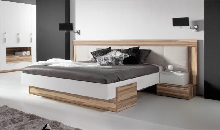 Lit design white lit moderne 2 personnes chambre for Chambre contemporaine adulte
