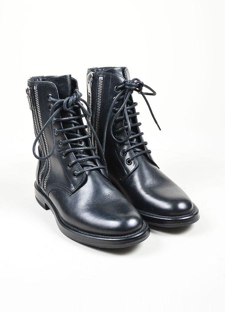 f498b617260 Black Leather Silver Toned Zip Saint Laurent