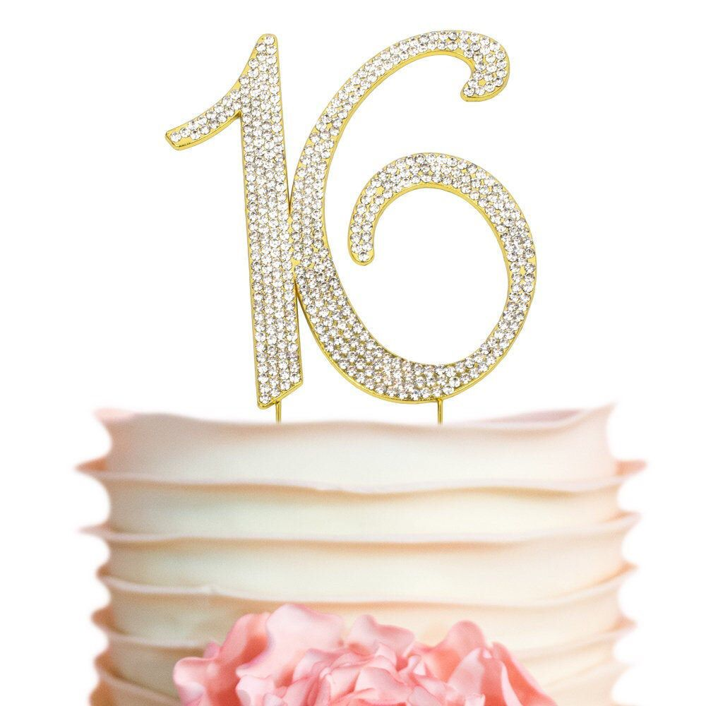 16 GOLD Birthday Cake Topper Sweet 16 Party Sixteen