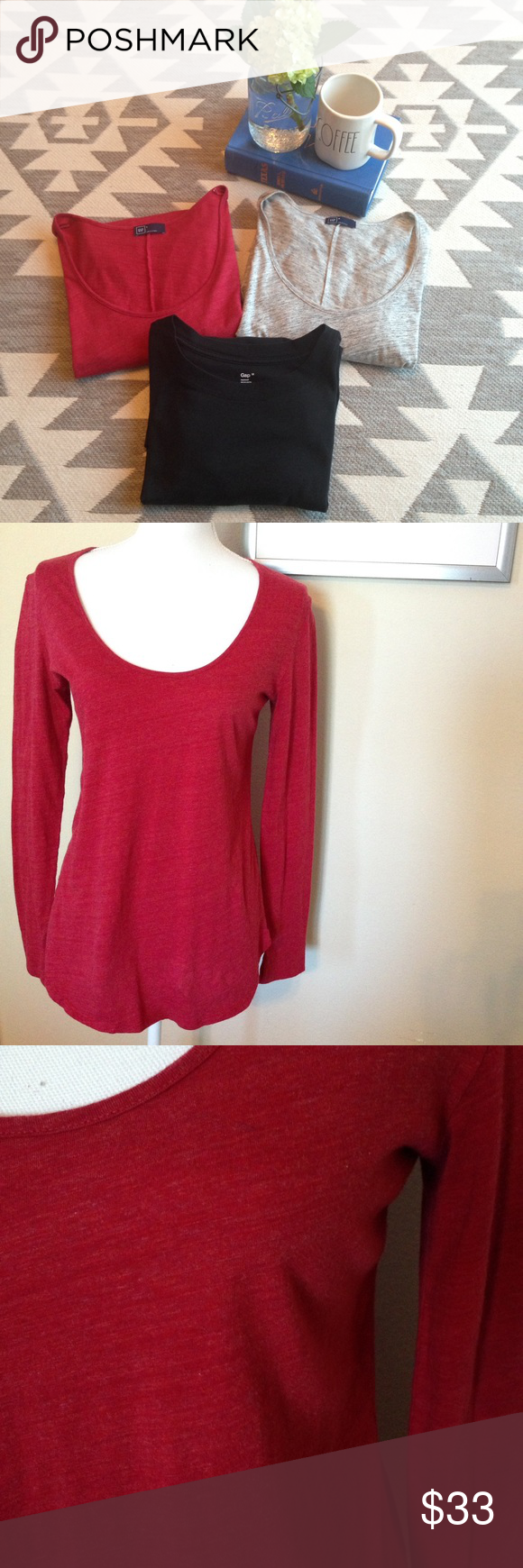 3 Gap long sleeve tops. 3 long sleeve Gap tops, 2 mediums and 1 small. Excellent condition! GAP Tops Tees - Long Sleeve