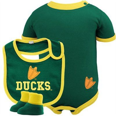 Oregon Ducks Green 3-Piece Creeper, Bib & Booties Set