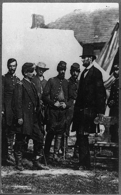 Abraham Lincoln with (from left) Col. Alexander S. Webb, Chief of Staff, 5th Corps, Gen. George B. McClellan. Photographed by Alexander Gardner on Oct 3, 1862. #civilwar