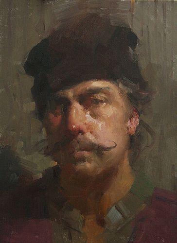 Portrait with mustache  Original painting