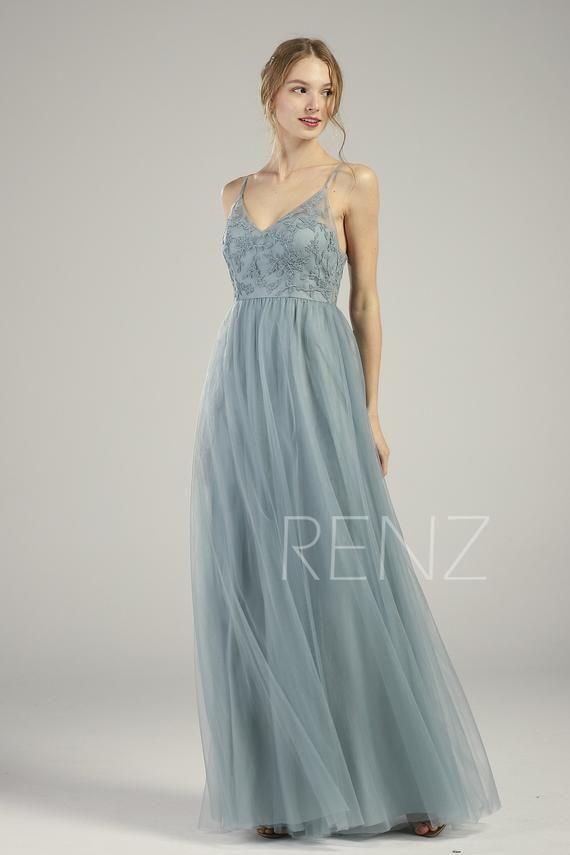 Brautjungfernkleid Dusty Blue Lace Brautkleid Long V Neck Spaghetti Strap Abendkleid Illusion Lace-up zurück A-Linie Tüll Kleid (HS736)   – Prom?