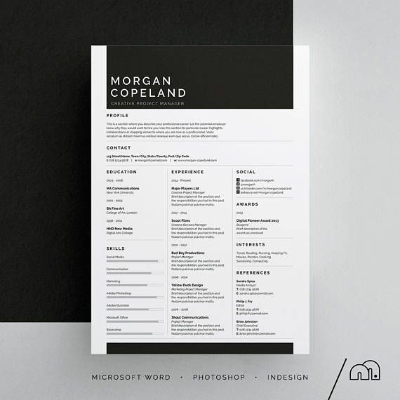 Morgan ResumeCv Template  Word  Photoshop  Indesign
