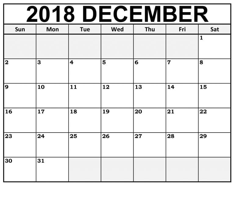 calendar 2018 december cute with large boxes table
