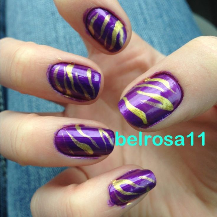 Purple And Yellow Nail Designs Purple And Yellow Tiger Striped