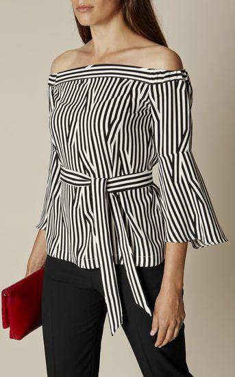 b4bbc29db794da STRIPED BARDOT TOP   Karen Millen Collection   Fashion, Tops, Bardot top