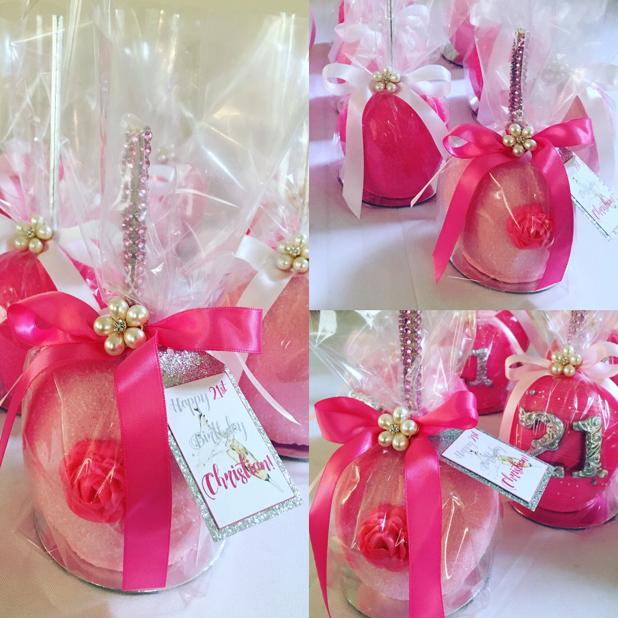 Personalized 21st Birthday Pink Chocolate Apple Party Favors - Pearl ...