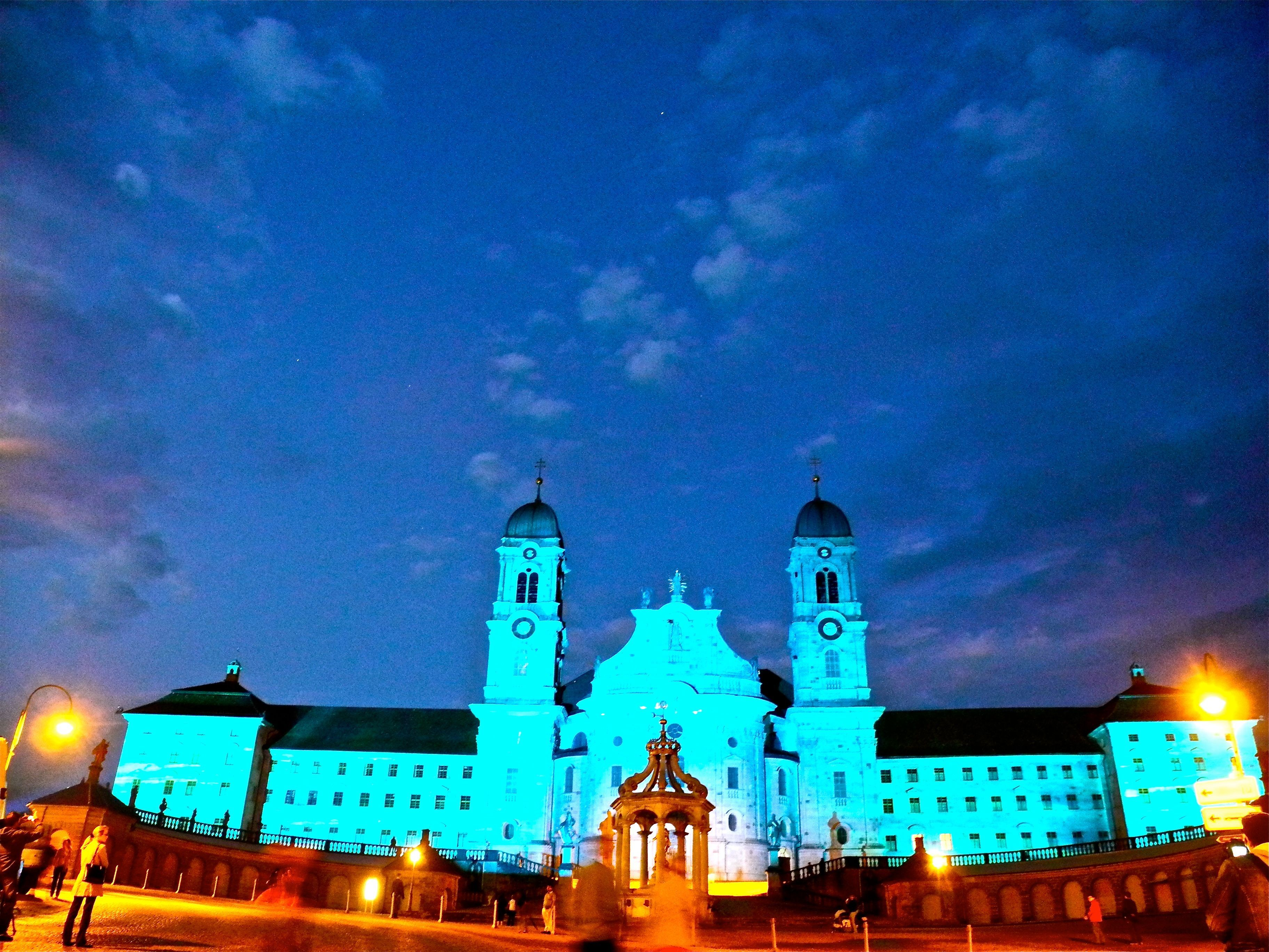 Illumination of famous Abbey Einsiedeln The abbey is a Benedictine