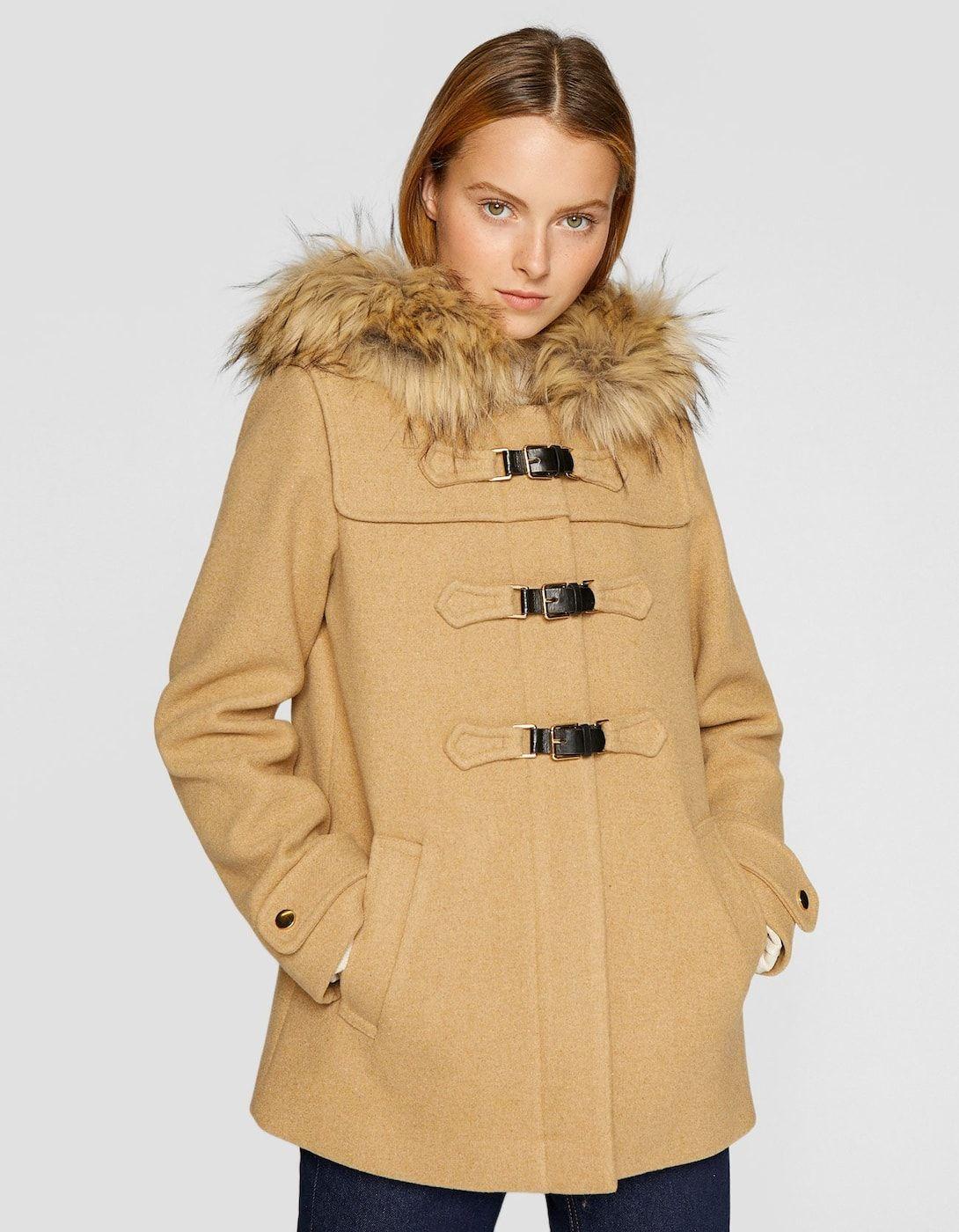 3bae0fd19e8 Cazadora de paño con capucha lana - Abrigos de mujer