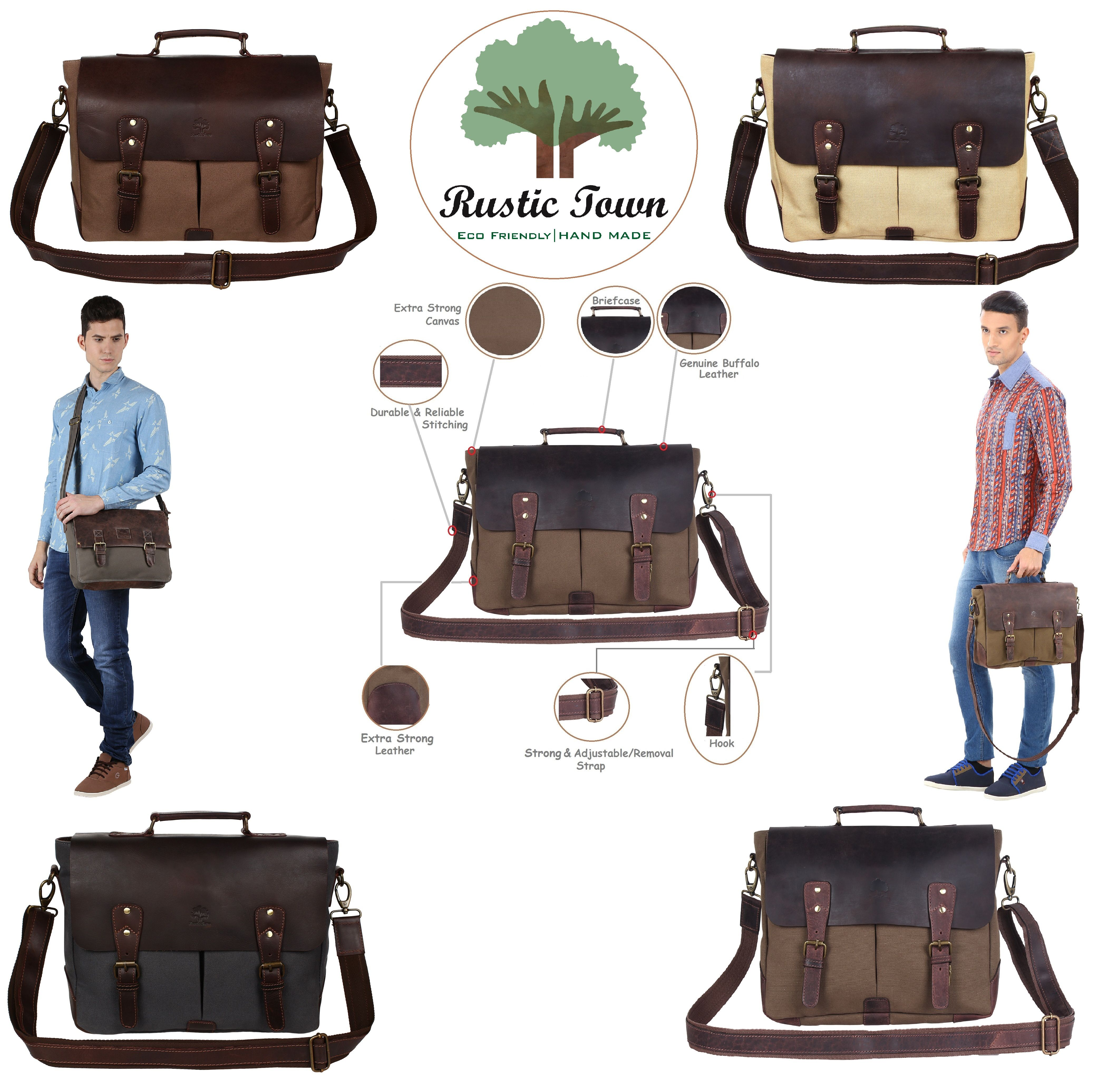 36b7ff7a0 Rustic Town Handmade Leather Canvas Vintage Crossbody Messenger Bag Gift  Men Women Travel Work ~ Carry Laptop Computer Books ~ Everyday Office  College ...