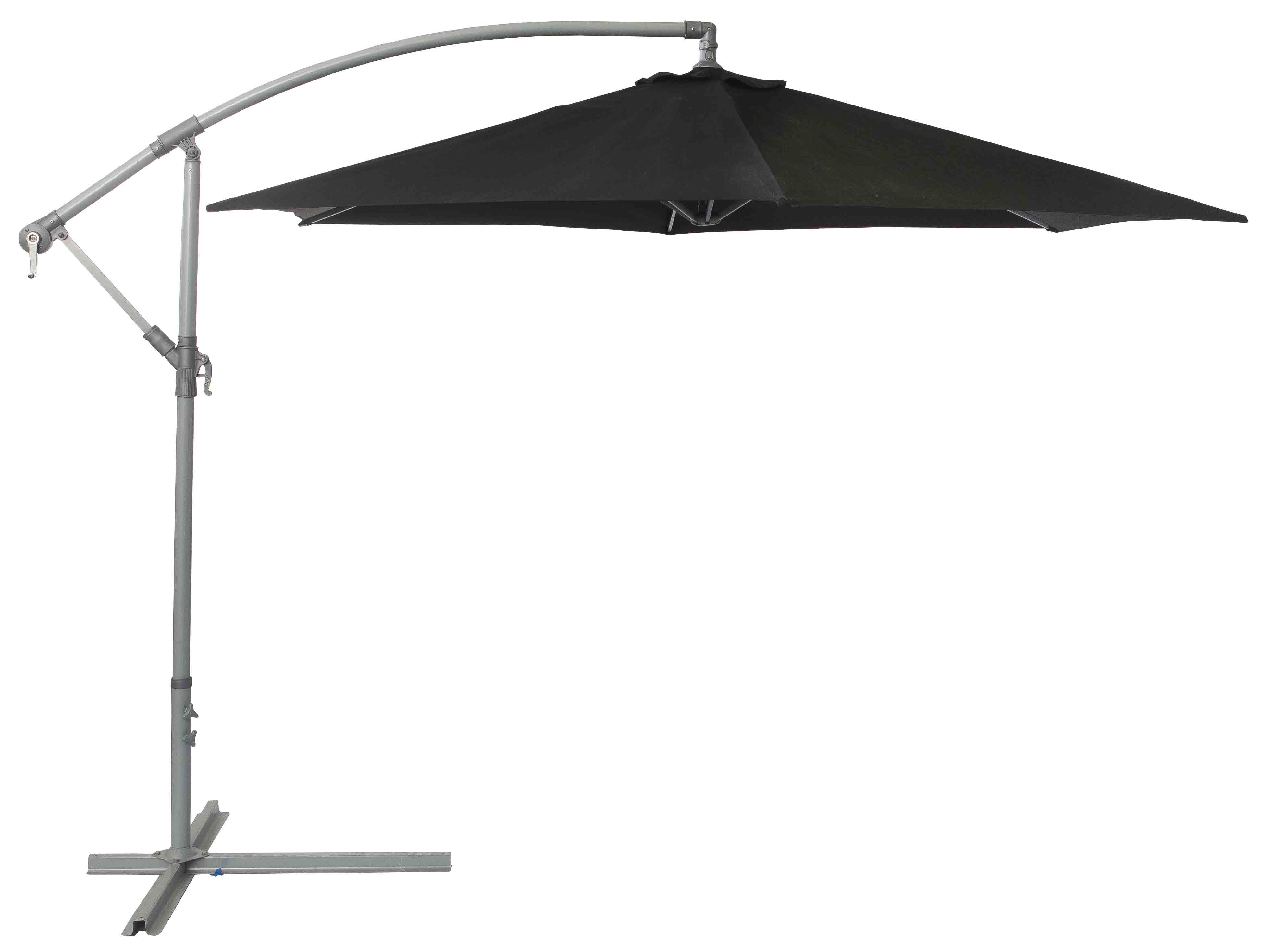Cantilever Parasol Free standing crank handled black parasol with