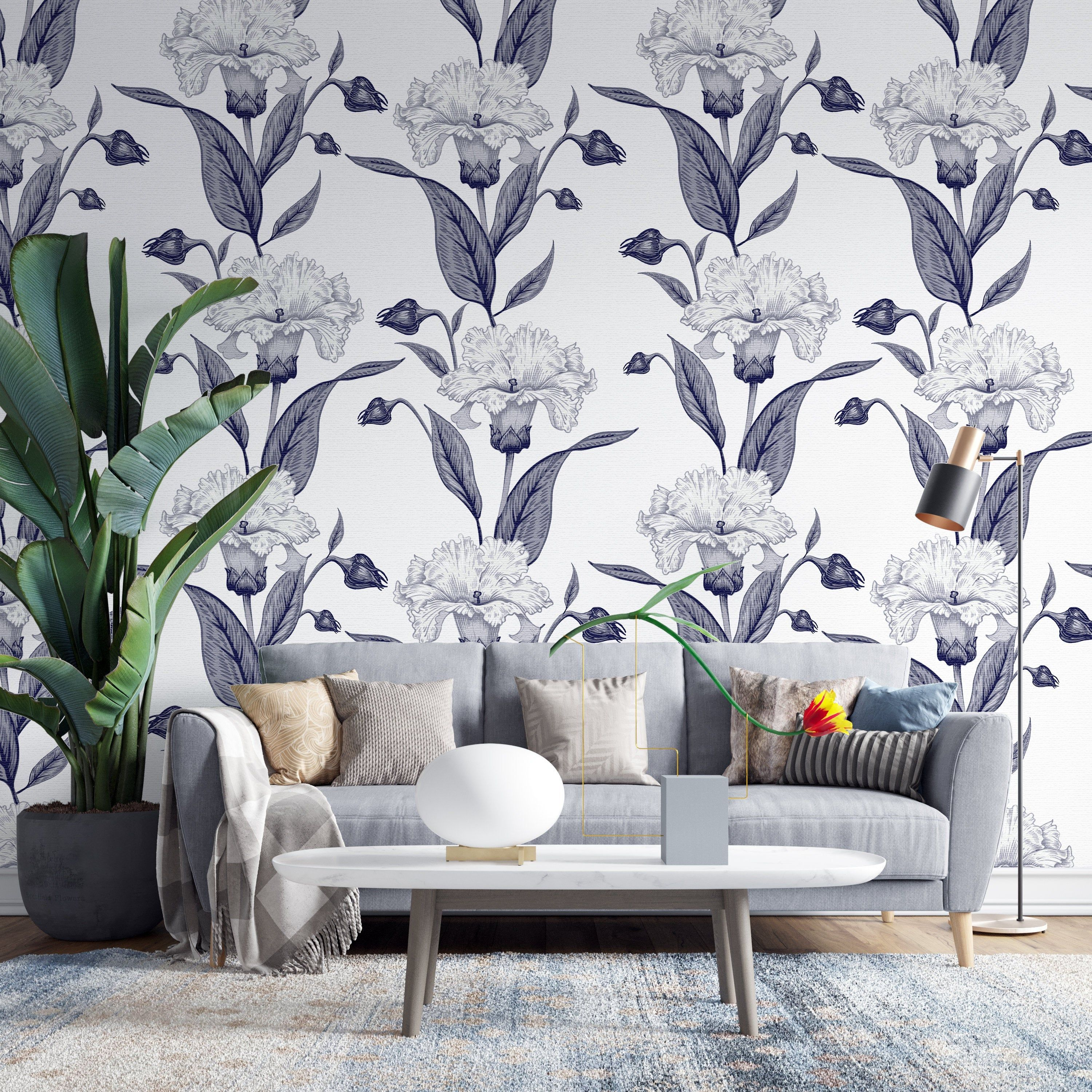 Removable Wallpaper Seamless Black Floral, Peel and Stick