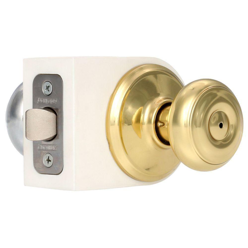 Schlage Georgian Bright Brass Bright Chrome Privacy Bed Bath Door