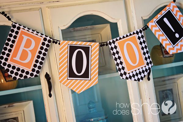 Exclusive Spooky Banner for F R E E! This is so fun! Halloween - free halloween printable decorations