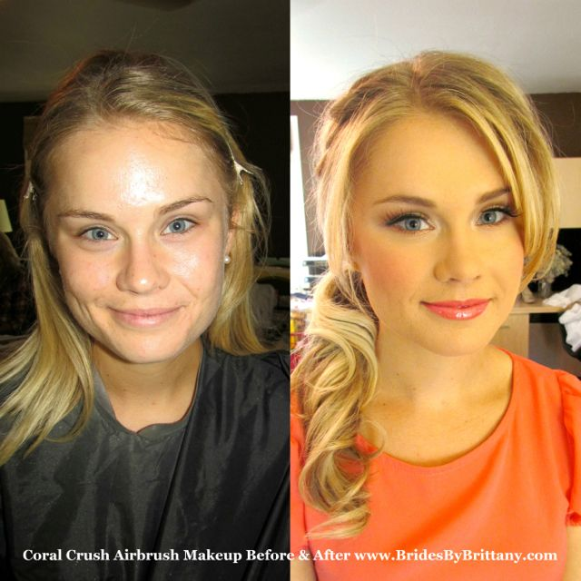 bare minerals before and after. coral crush airbrush makeup before \u0026 after www.bridesbybrittany.com bare minerals and