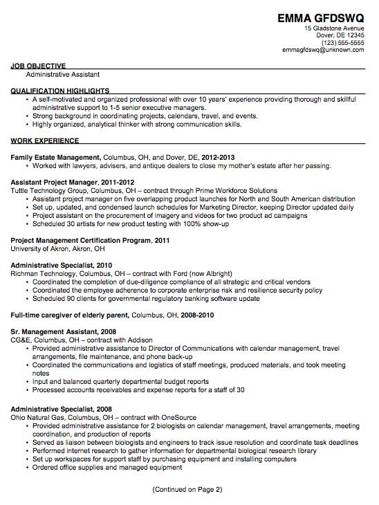 Chronological Resume Sample Admin Assistant Posit