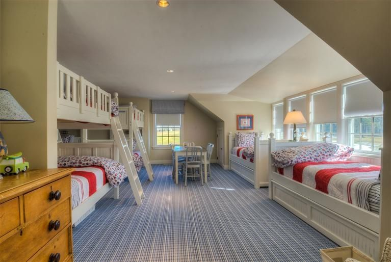 Best Cottage Guest Bedroom With Carpet High Ceiling Pottery 400 x 300