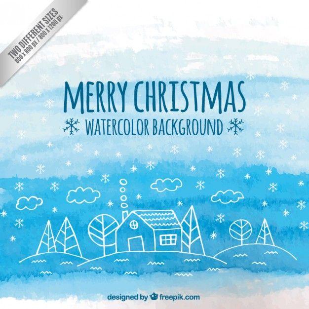 ブルー水彩クリスマスの背景 無料ベクター