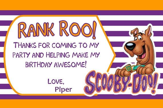 Thank You Cards Scooby Doo Birthday Pinterest Scooby Doo