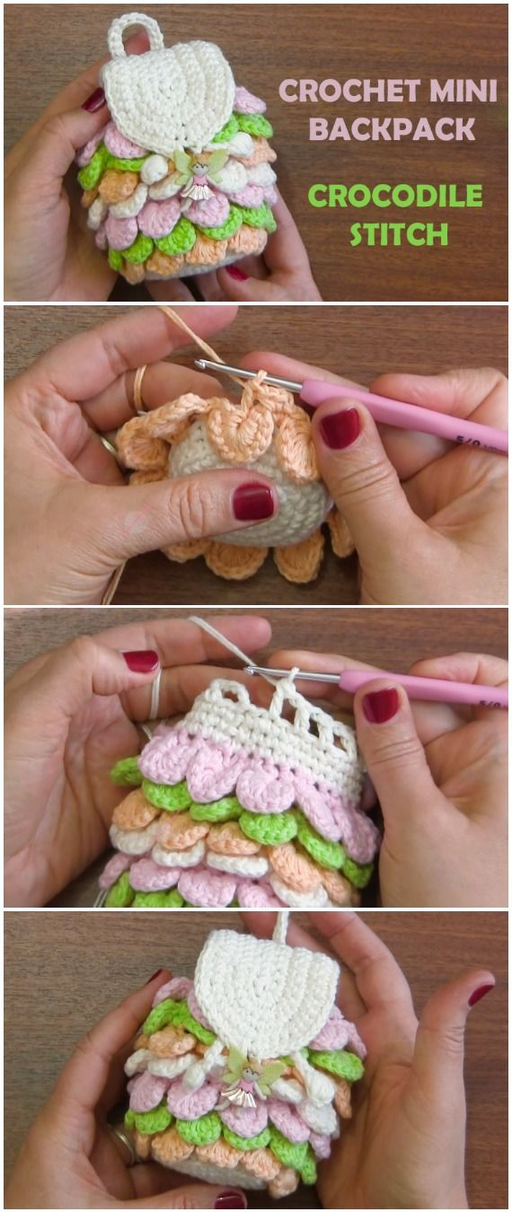 Crochet Mini Backpack Crocodile Stitch - Free Pattern [Video] #dolls