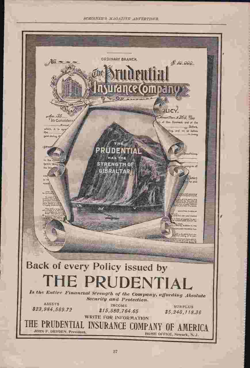 1898 Magazine Print Advertisement Ad The Prudential Insurance