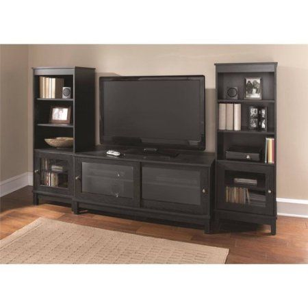 Mainstays 55 Tv Stand With Sliding Glass Doors Black Ebony Ash