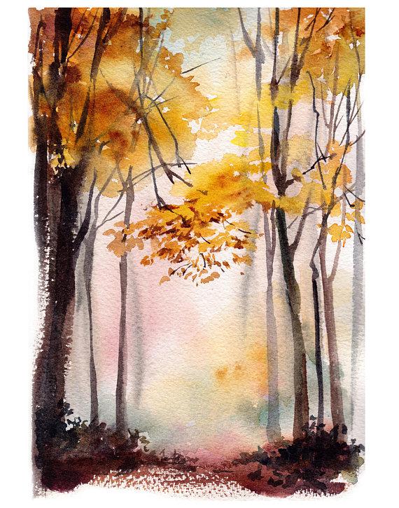 Autumn landscape art print, forest watercolor painting art, autumanl trees fine art print, landscape wall art print