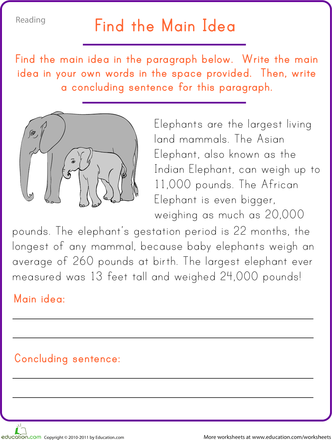 Find The Main Idea Elephant Worksheet Education Com Lesson Reading Comprehension An Essay On