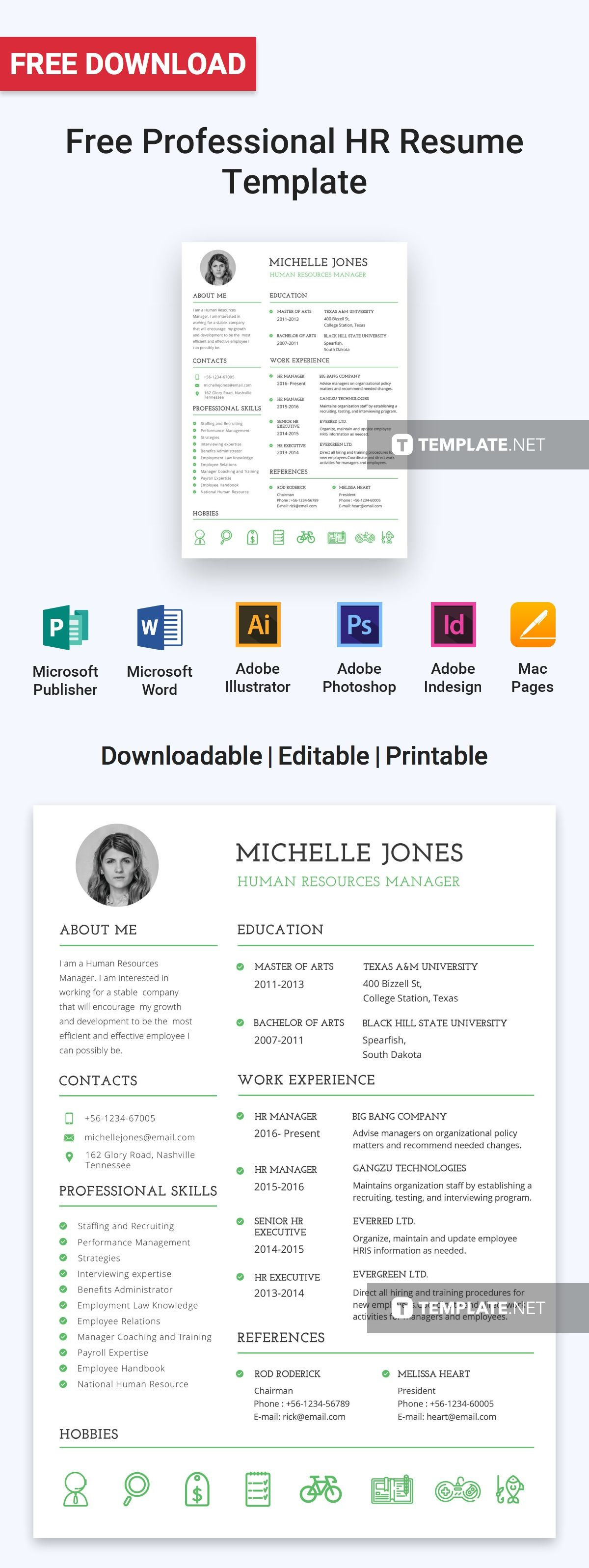 Free Professional HR Resume Template Downloadable resume