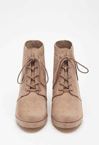 ceb208f344f Faux Suede Lace-Up Booties
