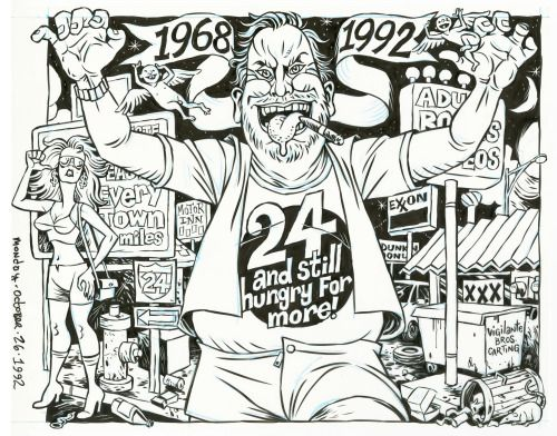 24th anniversary cover for SCREW, ink on denril vellum, art...