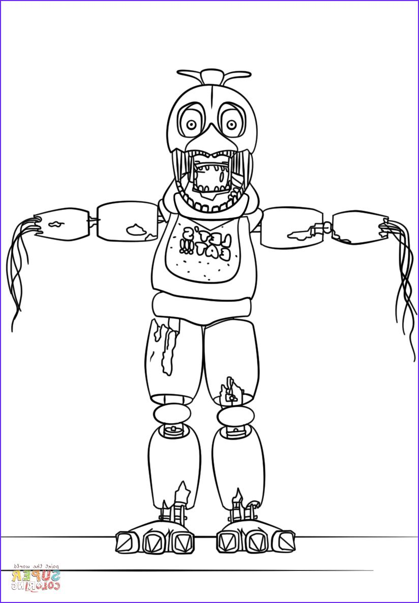 Fnaf Withered Chica Coloring Page In 2020 Fnaf Coloring Pages