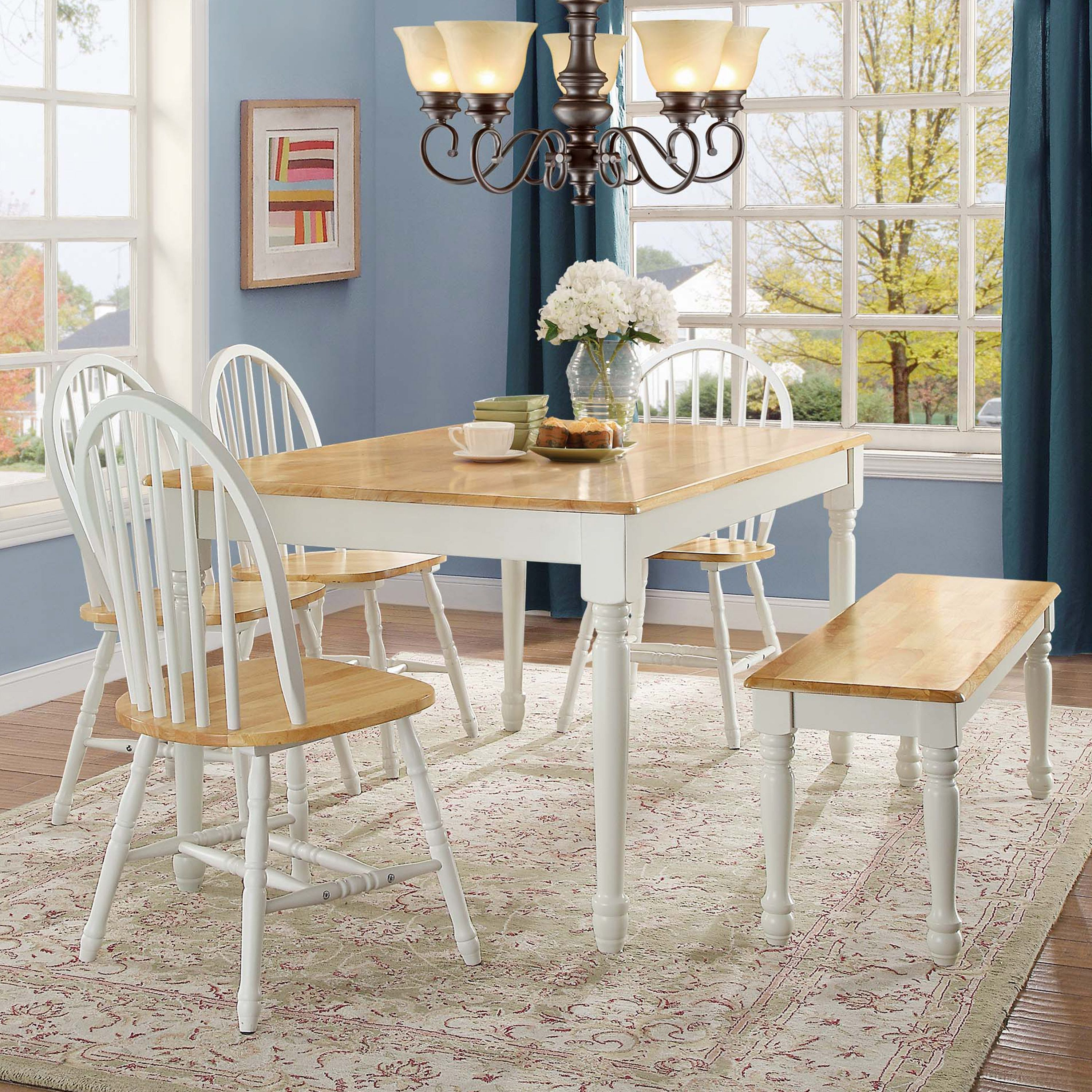 Better Homes And Gardens Autumn Lane Farmhouse Dining Table White And Natural Walmart Com Wood Dining Bench Farmhouse Dining Table Farmhouse Dining