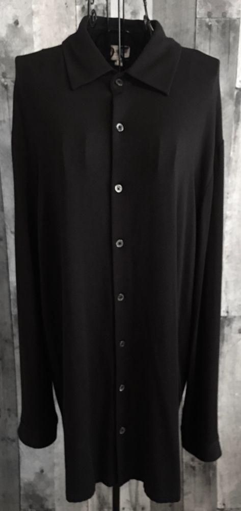 Armani Collection Mens Black Jersey Stretch Knit Top Shirt Size Large #ArmaniCollezioni #ButtonFront