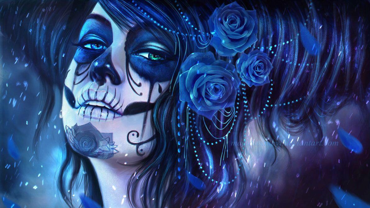 Afbeelding van http://pre10.deviantart.net/1b54/th/pre/f/2013/254/3/1/dia_de_los_muertos_by_magicnaanavi-d6lwh1k.jpg.