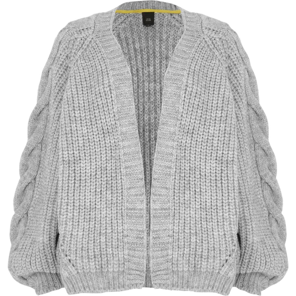 47734b77c05 Grey chunky cable knit cardigan   Fall 2018 sweaters   Cable knit ...