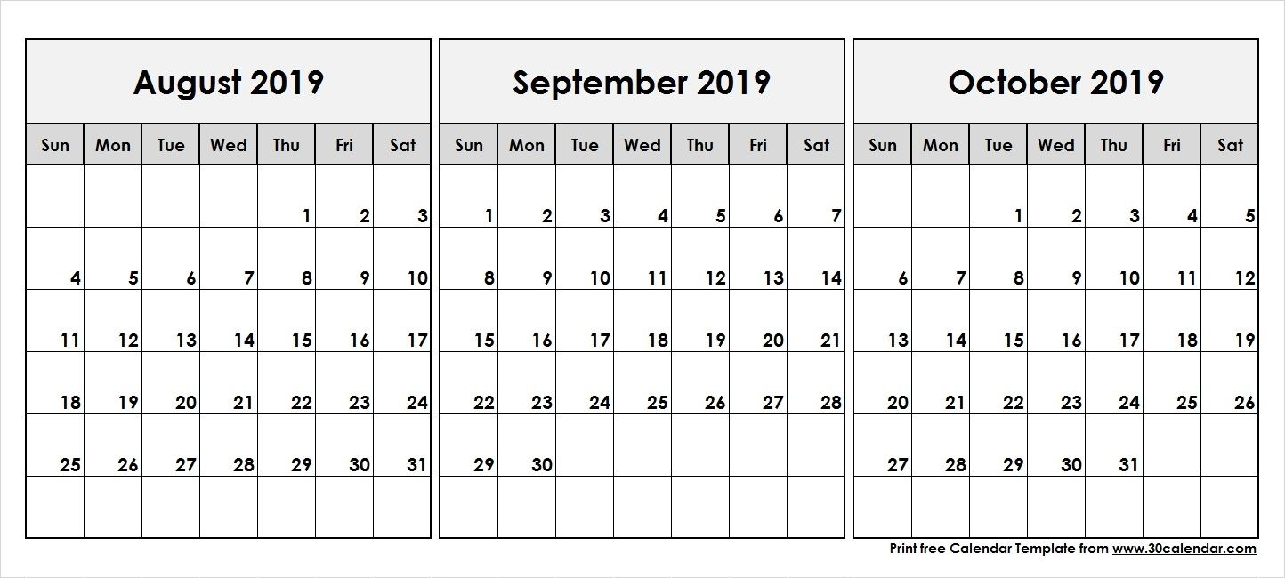 Collect August September October 2019 Calender June 2019