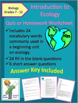 introduction to ecology quiz or homework worksheet this document can be used as a quiz as a. Black Bedroom Furniture Sets. Home Design Ideas