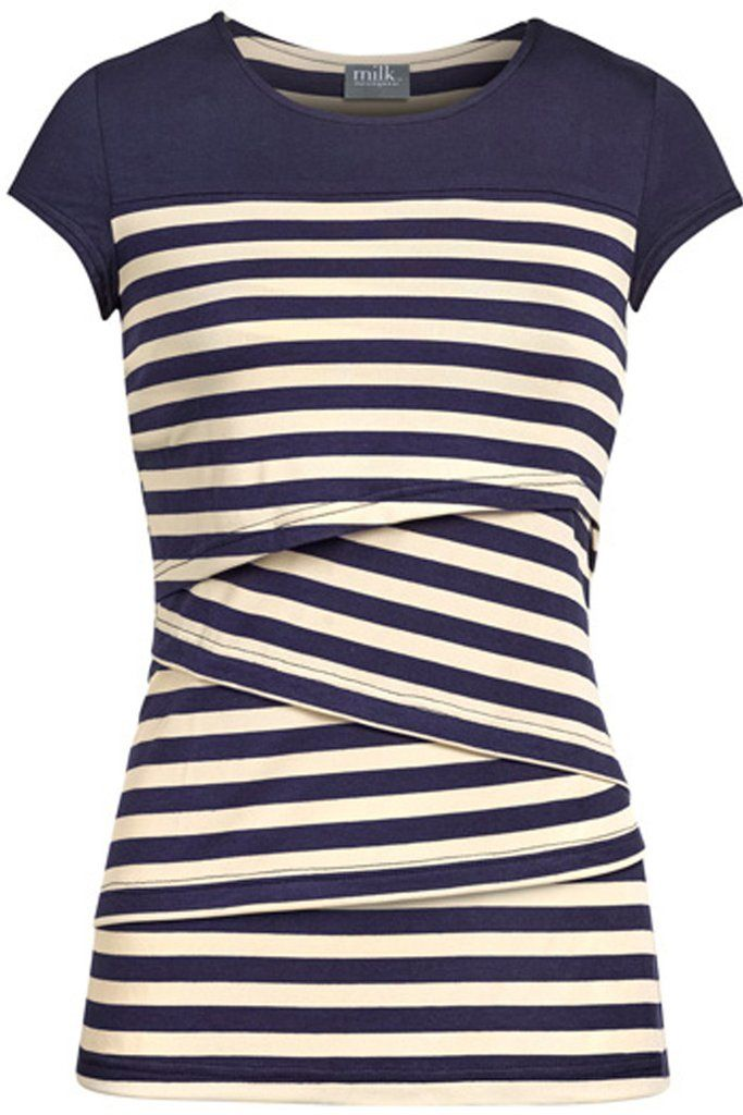 Striped solid yoke nursing top | Navy size M