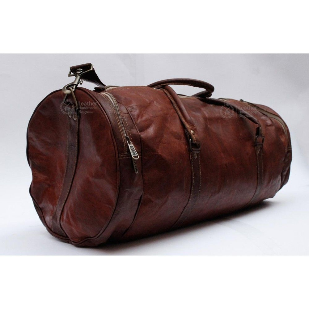 mens leather duffle bag 24 inch x 11 inch travel bag overnight bag sports bag - Mens Leather Duffle Bag