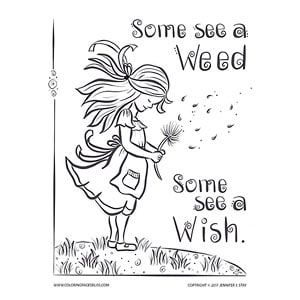 Some See a Weed Some See a Wish adult coloring page