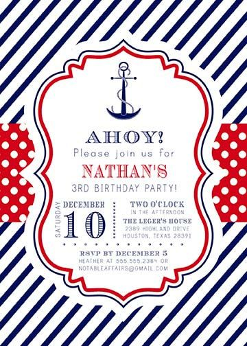 Navy Red White Blue Anchor Stripes And Polka Dots Nautical Invitation